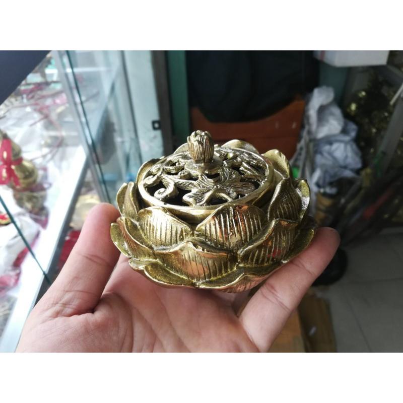 Lò đốt trầm hoa sen đồng vàng