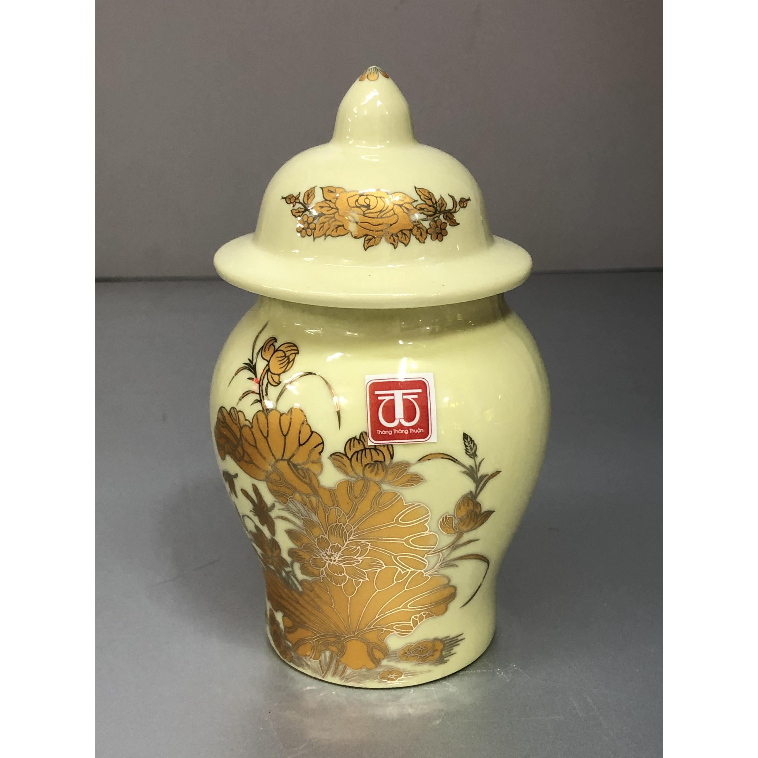Hũ thờ gạo muối bước bằng sứ sen vàng -TL298
