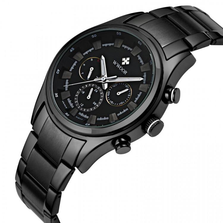 Đồng hồ nam Wwoor 8015 dây thép cao cấp không gỉ 3