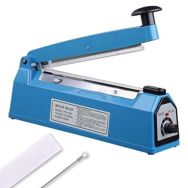 Máy hàn miệng túi 200 nhưạ xanh, Thiết kể nhỏ gọn trọng lượng máy nhẹ, Máy hoạt động được liên tục, cho đường hàn 200 mm x2 mm