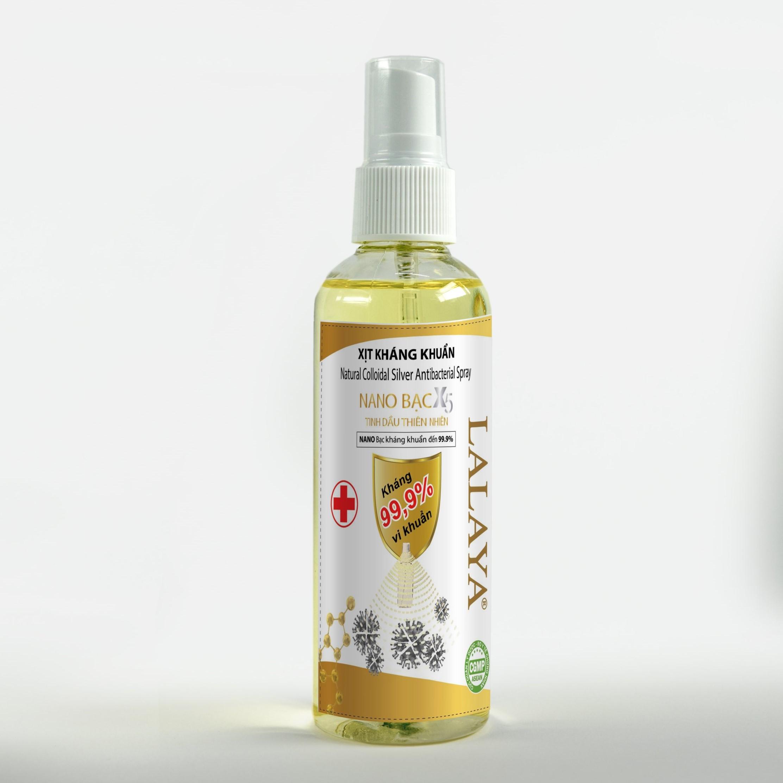 Chai xịt kháng khuẩn rửa tay đa năng phòng chống virus NANO BẠC X5 LALAYA Natural collidial silver antibacterial spray-  chai xịt kháng khuẩn phòng chống coronavirus - 110ml