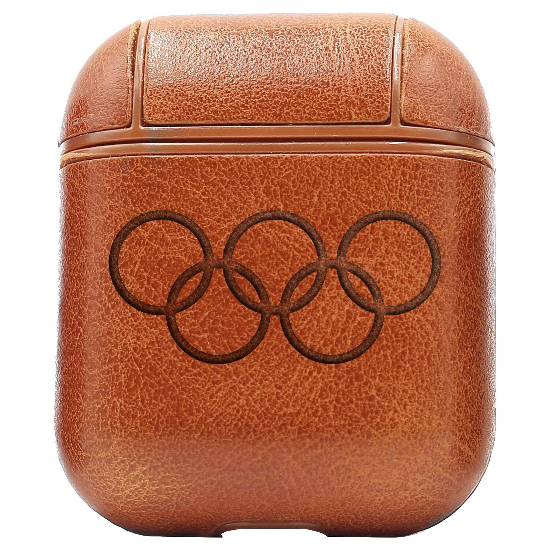 Bao Da Cover Dành Cho Apple Airpods 1 / 2 Premium  Khắc Hình Olympic Rings
