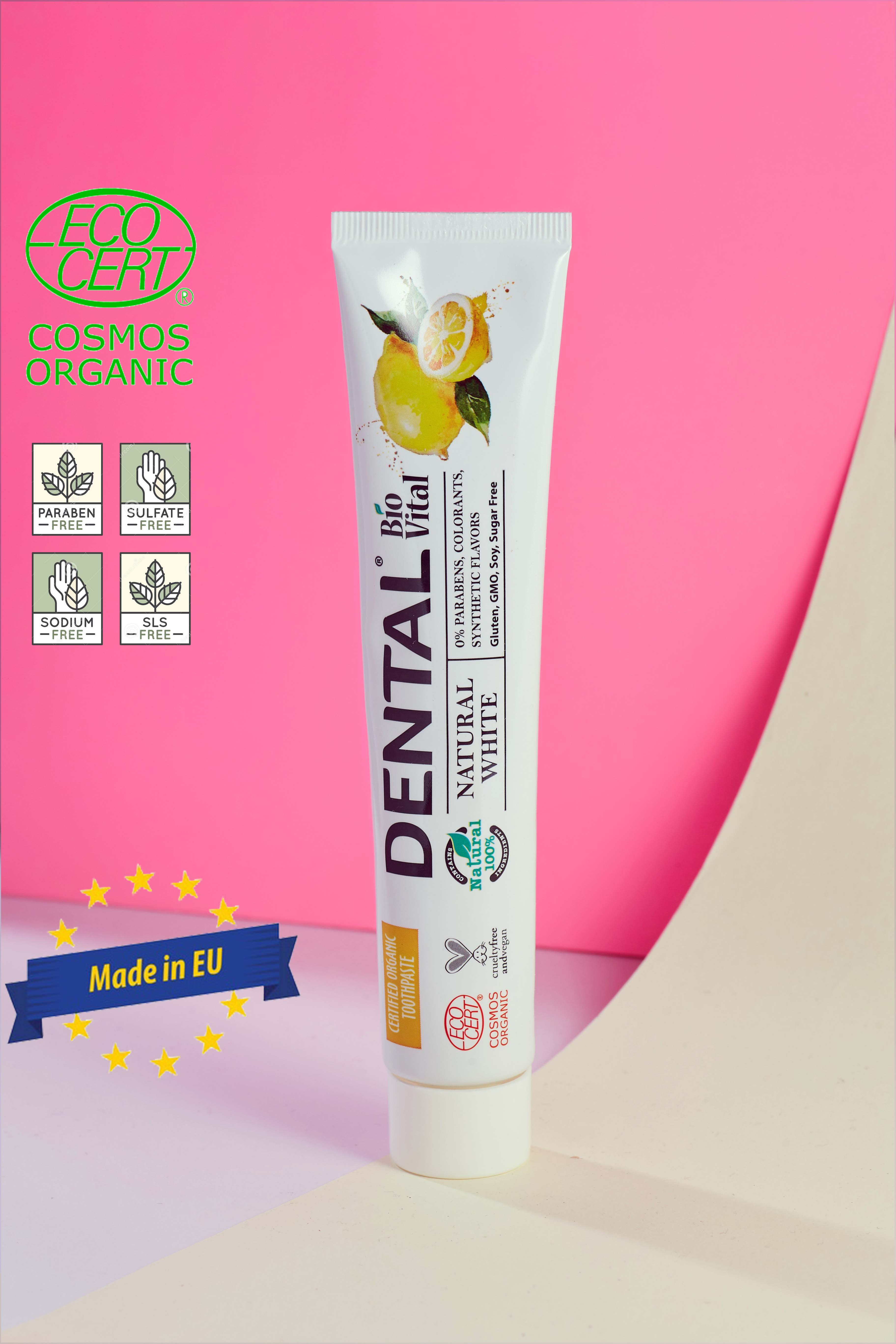 Kem Đánh Răng Organic Trắng Sáng Chiết Xuất Chanh Sinh Học Dental Bio Vital Natural White - Hàng Hữu Cơ Nhập Khẩu