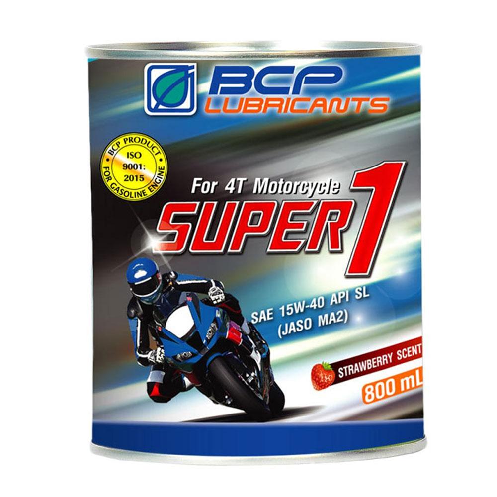 Nhớt xe máy dành cho xe số (dầu nhờn động cơ đốt trong) SUPER 1 4T SL MA2 15W40 24/0.8L RED SCENT TIN EX -  Công thức cải tiến - mùi dâu, màu đỏ - Tặng bàn chà sên