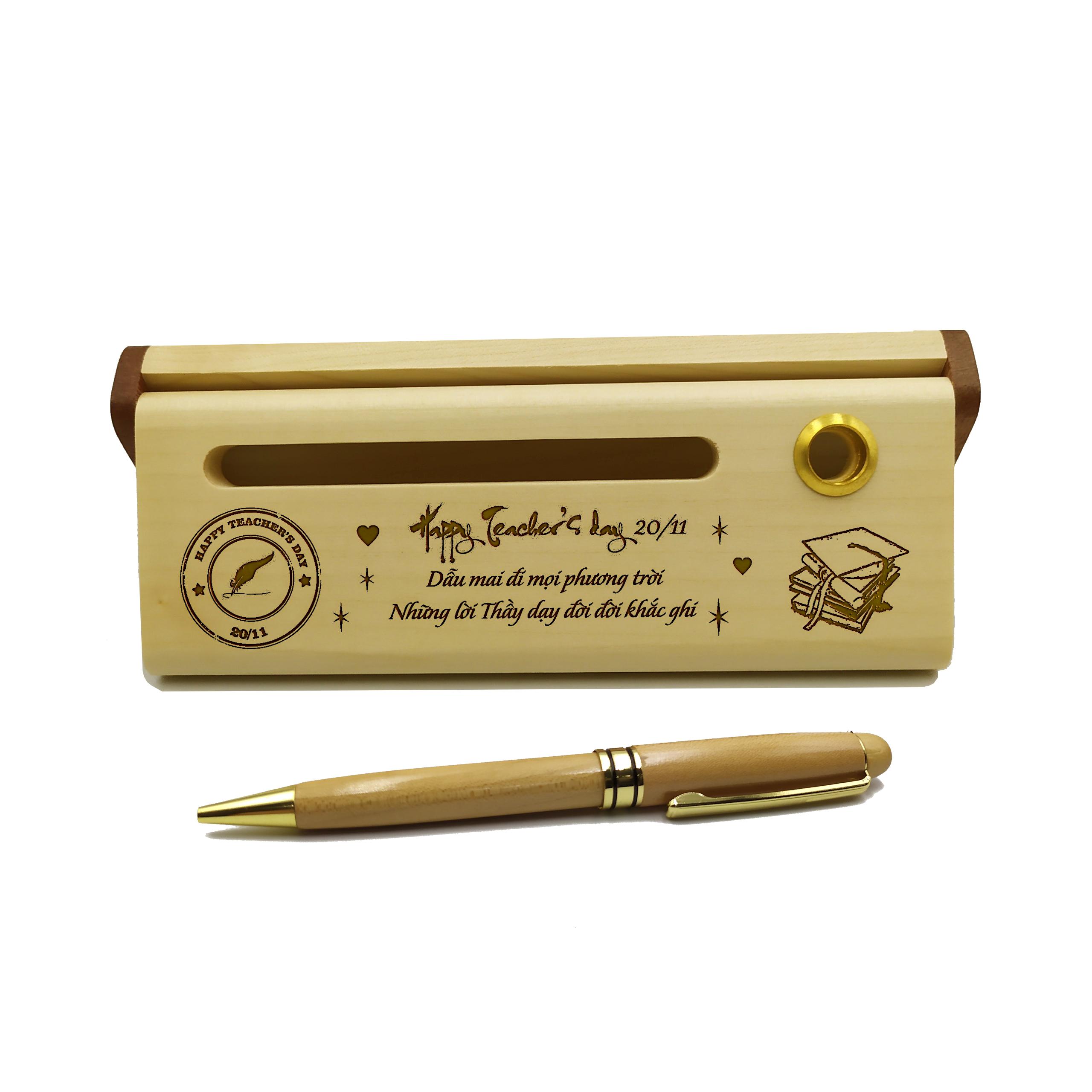 Bút gỗ bi xoay tặng Thầy, Cô  (Kèm hộp đựng sang trọng)
