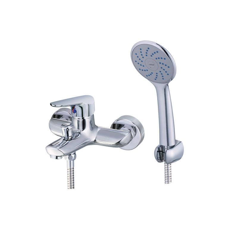 Vòi sen tắm nóng lạnh gắn tường  tay sen một chế độ Caesar S123C (trọn bộ)