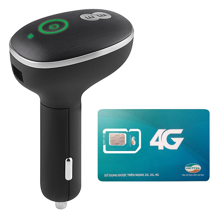 Bộ Phát Wifi 4G Cho Xe Ô Tô Huawei E8377 150Mbps + Sim Viettel 3G/4G Trọn Gói 12 Tháng - Hàng chính hãng