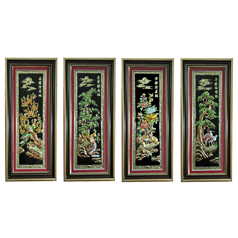 Tranh Tứ Quý - Nền Đen  - Bộ  4 Bức (45 x 105cm)