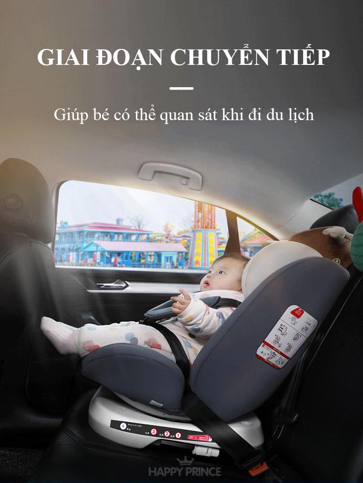 Ghế ô tô 2 chiều CHUẨN ISO 9001, điều chỉnh 4 tư thế từ nằm tới ngồi và có thể điều chỉnh độ cao 7 cấp cho bé từ 0-12 tuổi (xám) 10
