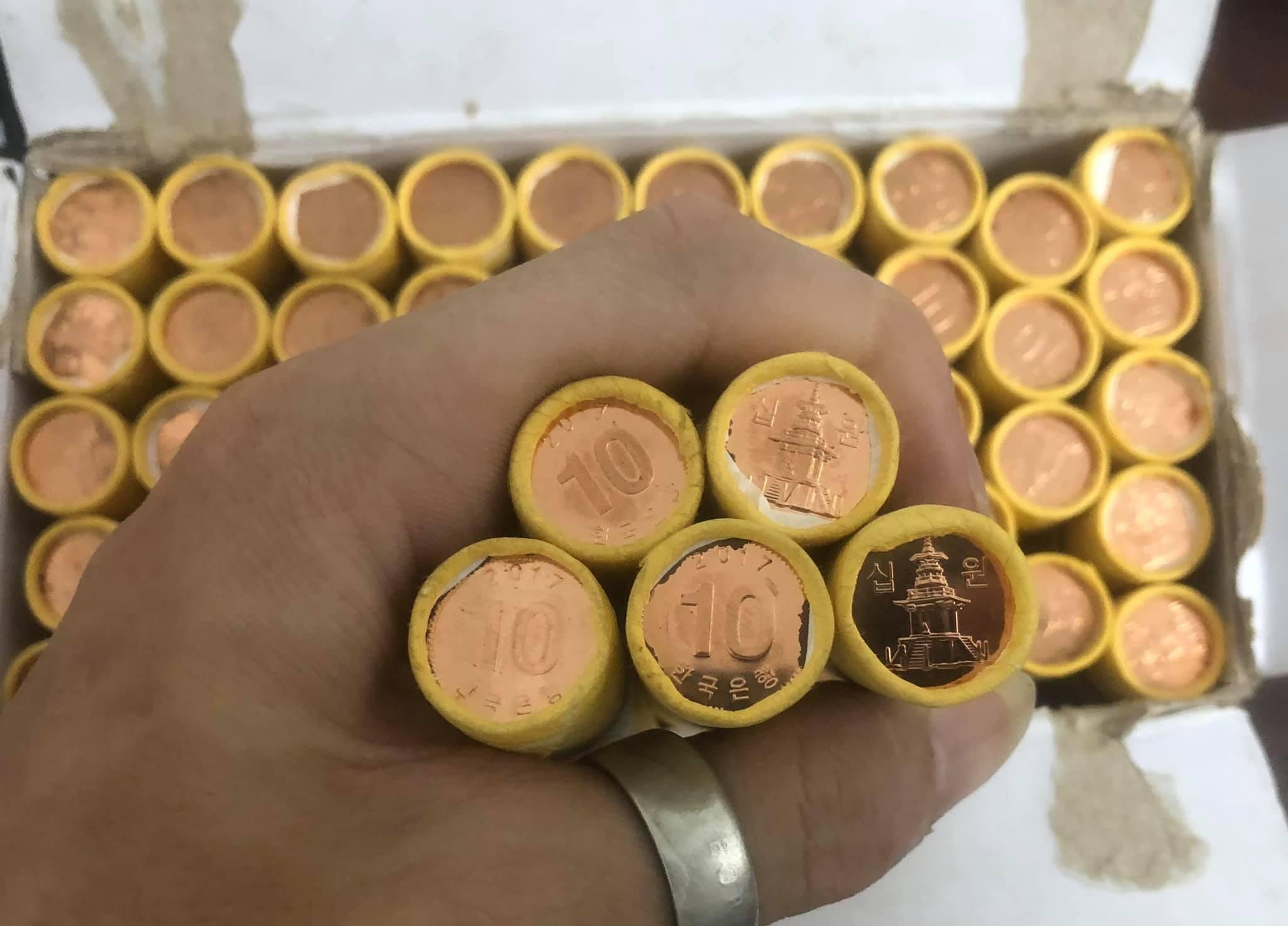 xu Hàn Quốc, 1 cây xu gồm 50 viên 10 won sưu tầm