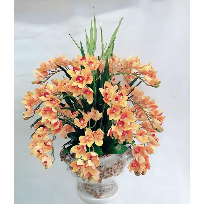 Chậu hoa địa lan cao su vàng cam cao cấp phong cách sang trọng quý phái mang lại sự thịnh vượng