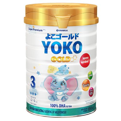 SỮA BỘT GOLD YOKO 3 VINAMILK 850G ̣̣DÀNH CHO BÉ TỪ 2 - 6 Tuổi