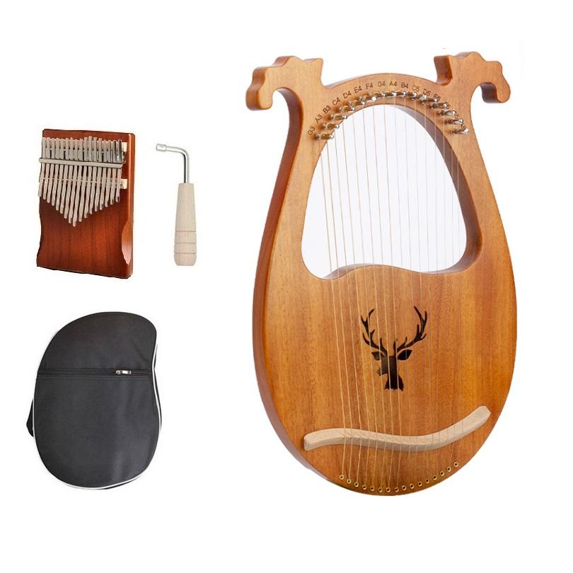 Đàn Lyre 16 dây đàn hạc Lyre Harp IME2275-MS005 Đầy đủ phụ kiện LOẠI 16 DÂY tặng đàn kalimba 17 phím gỗ nguyên khối Mahagony PJLIM72