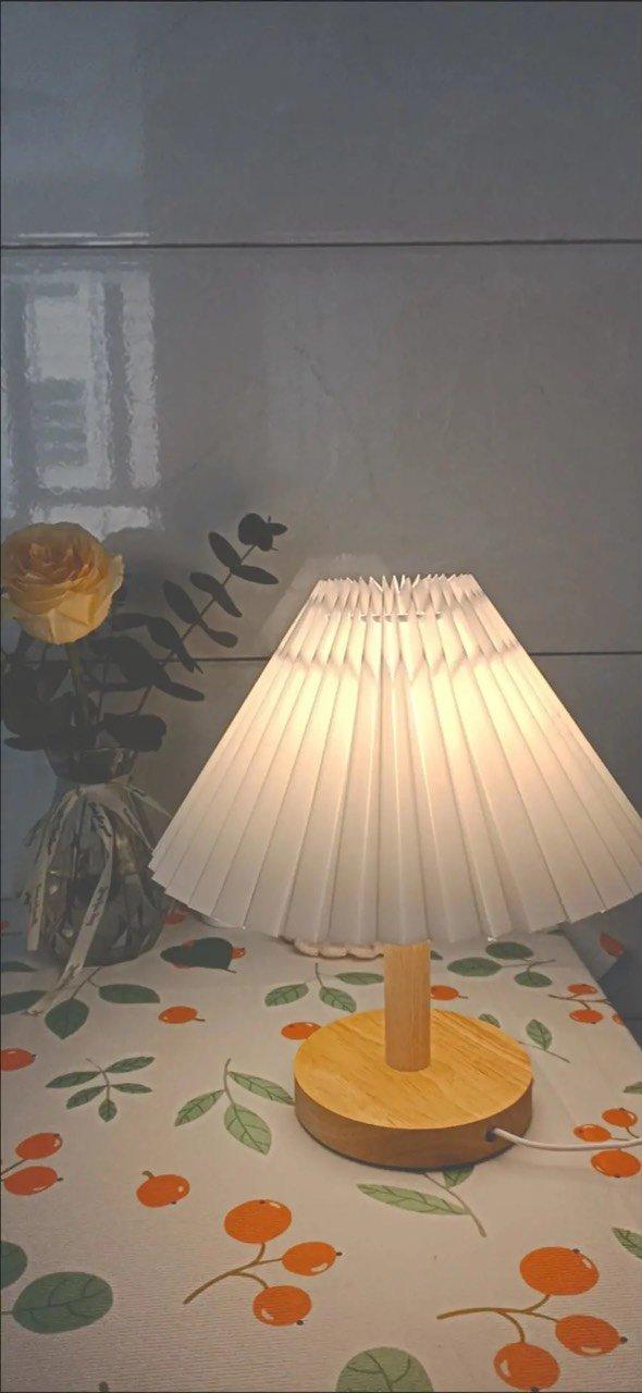 Đèn Ngủ Để Bàn Thân Gỗ Phong Cách Hàn Quốc - Đèn Ngủ Xếp Ly Kèm Công Tắc - GU DECOR WOODEN