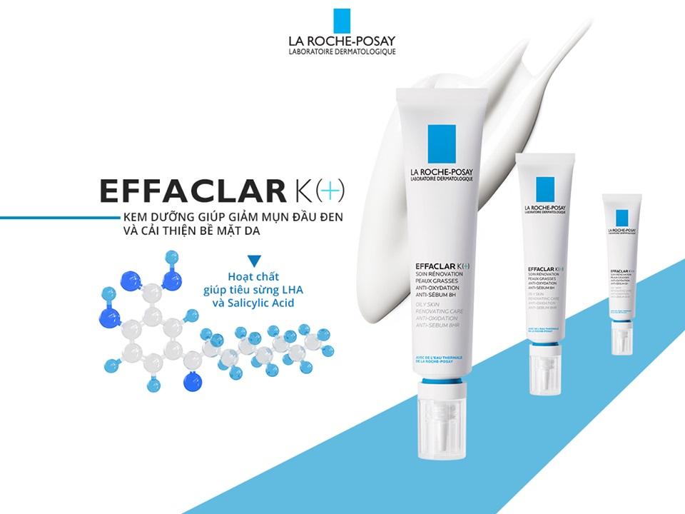 Kem Dưỡng Giúp Cải Thiện Bề Mặt Da, Giảm Mụn Đầu Đen và Giảm Bóng Nhờn La Roche Posay Effaclar K+ (40ml) - TẶNG MÓC KHÓA