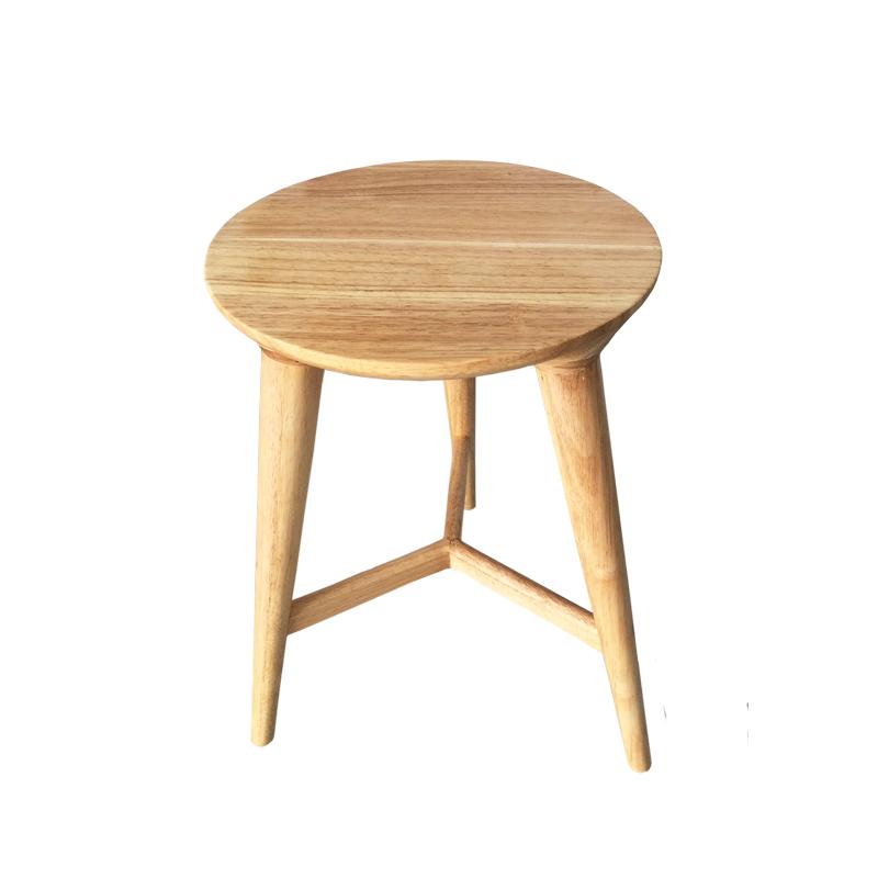 Ghế quầy bar dành cho đảo bếp gỗ tự nhiên 3 chân cao 65 mặt ngồi tròn đẹp sang trọng CB2145-65W