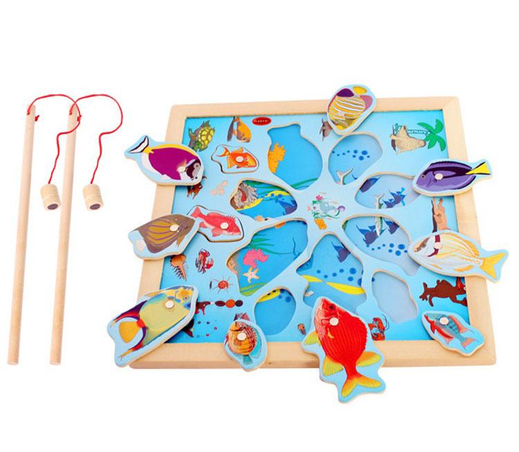 Đồ chơi câu cá 2 cần bằng gỗ