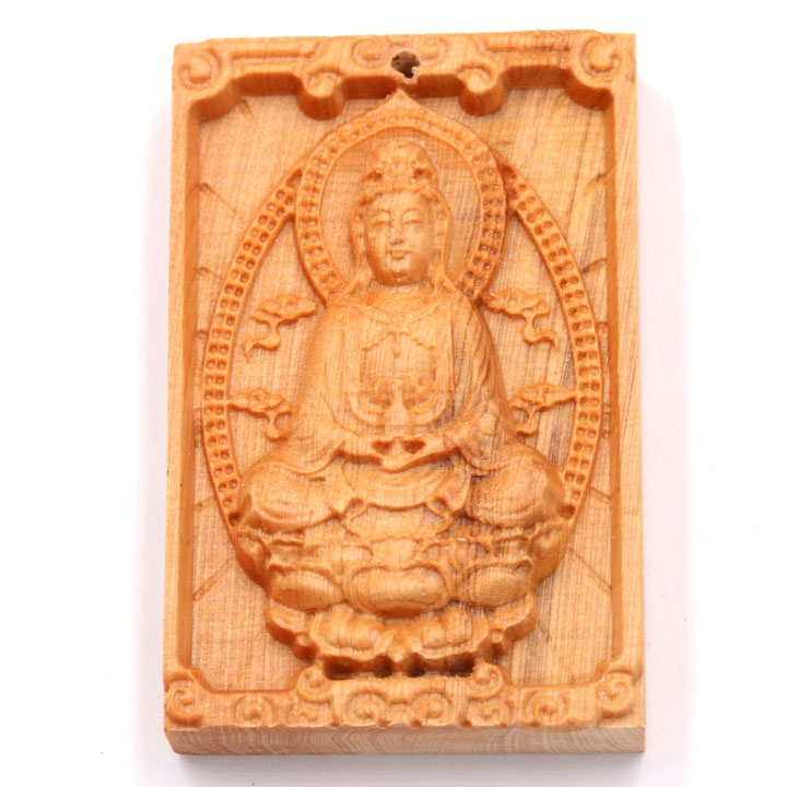 Mặt gỗ hoàng đàn - khắc hình Quan âm bồ tát MG4