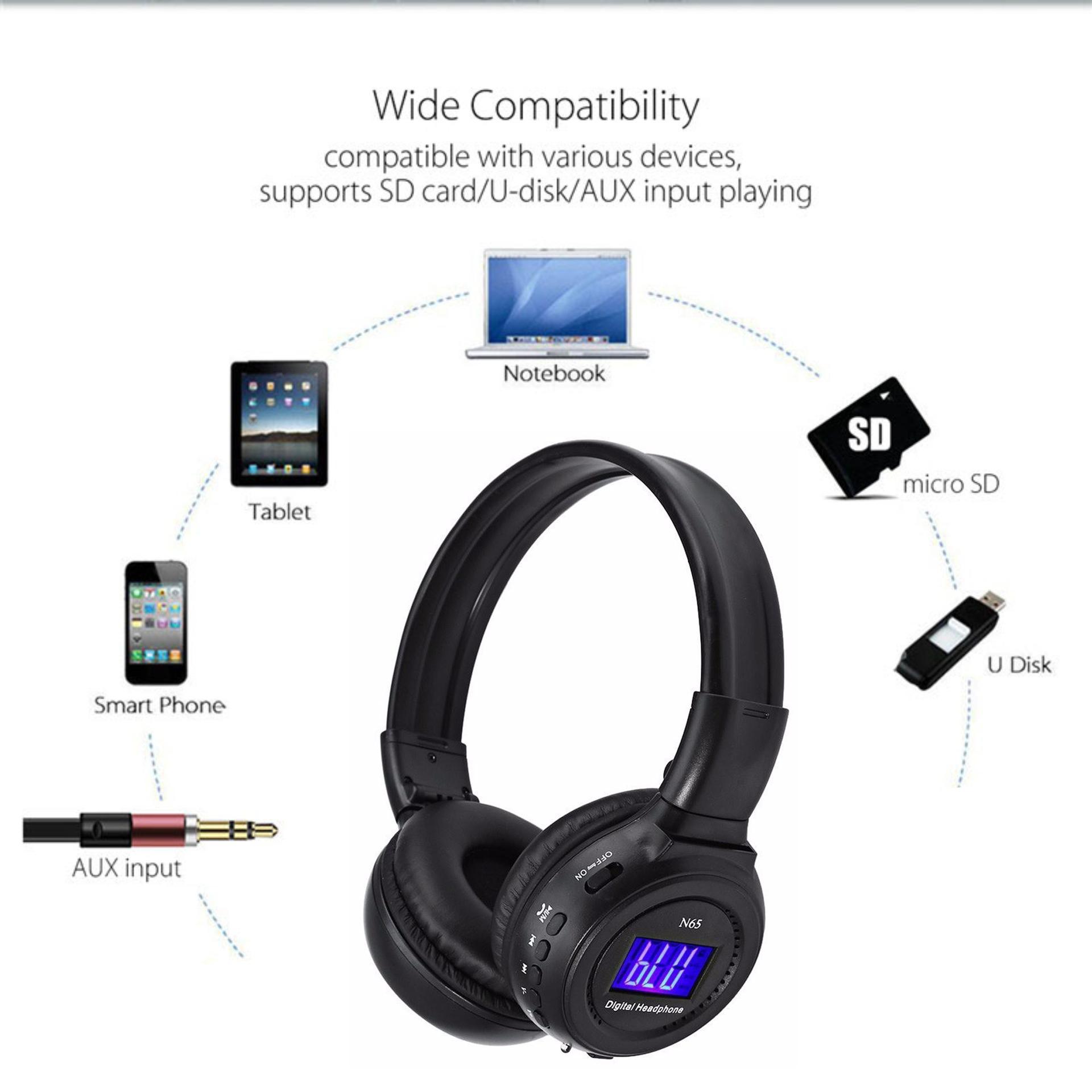 Tai nghe bluetooth chụp tai N65BT âm thanh cực đỉnh thời gian chơi nhạc cực lấu headphone gamming gamer (Giao màu ngẫu nhiên)