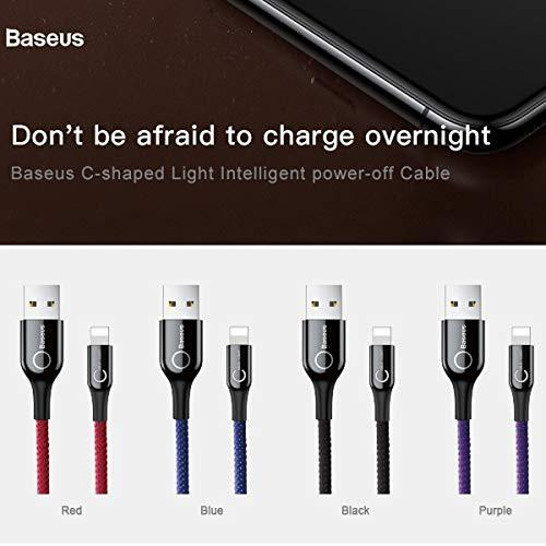 Cáp sạc Lightning tự ngắt cho iPhone 6/ 7/ 8/ iPhone X/ iPad (2.4A, Sạc nhanh, Sợi Carbon Siêu Bền) - Baseus C-Shaped  Light - Hàng Chính Hãng