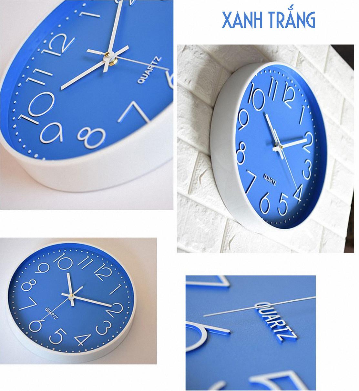 Đồng hồ treo tường kim trôi vỏ kim loại, 20cm, màu Trắng Dan House – DH01T
