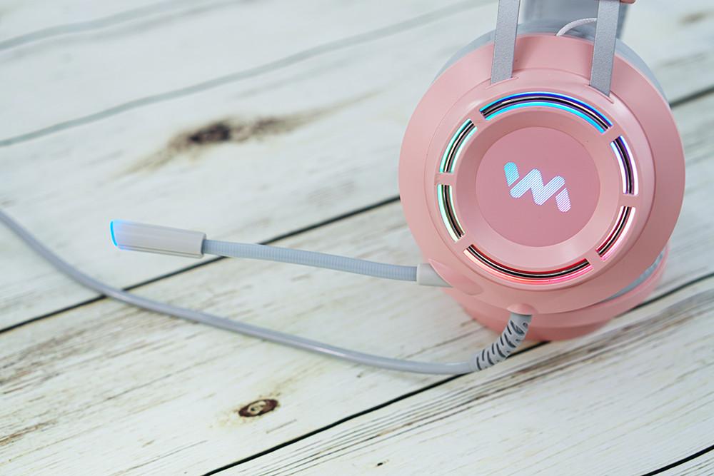 Tai Nghe Gaming Wangming 9800s Pink (Màu Hồng) Âm Thanh 7.1 USB LED - Hàng Nhập Khẩu