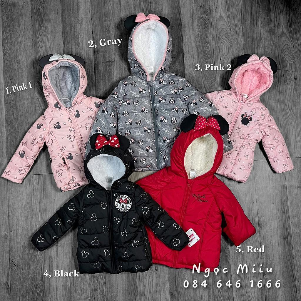 Áo phao Mickey lót lông cừu cho bé gái