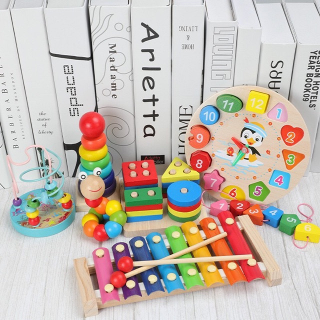 Combo 6 món đồ chơi gỗ an toàn cho bé- phát triển trí tuệ