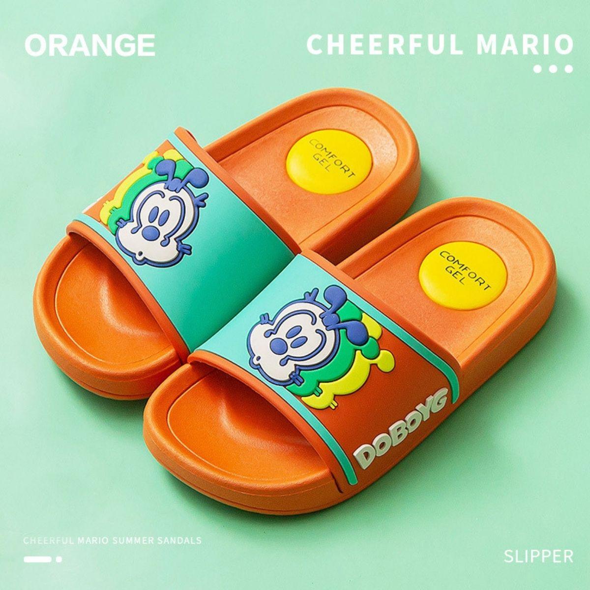 Dép Trẻ Em Cheerful Mario CM - 6102 Siêu Mềm Siêu Nhẹ Chống Trơn Trượt Cho Bé - 5 Màu Đính Sticker Mickey (Kèm Tất Babylovego B101)