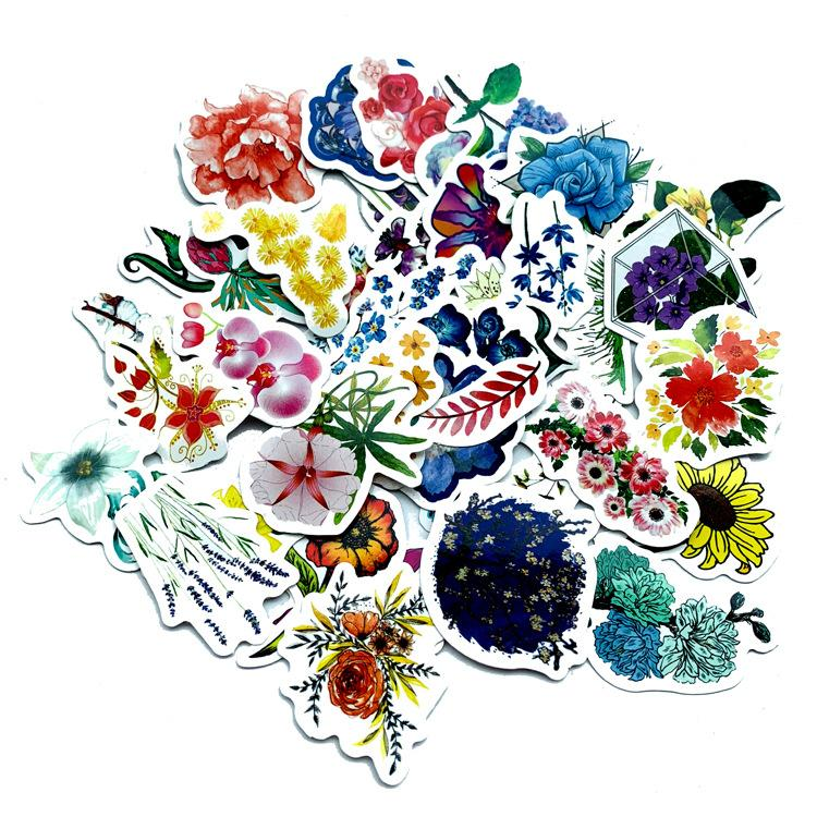 Set 30 Sticker hoa Flowers ảnh ép lụa