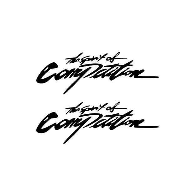 Bộ 2 Nhãn Dán Xe Chữ The Spirit of Competition Cạnh Tranh Tốc Độ Trang Trí Xe Ô Tô