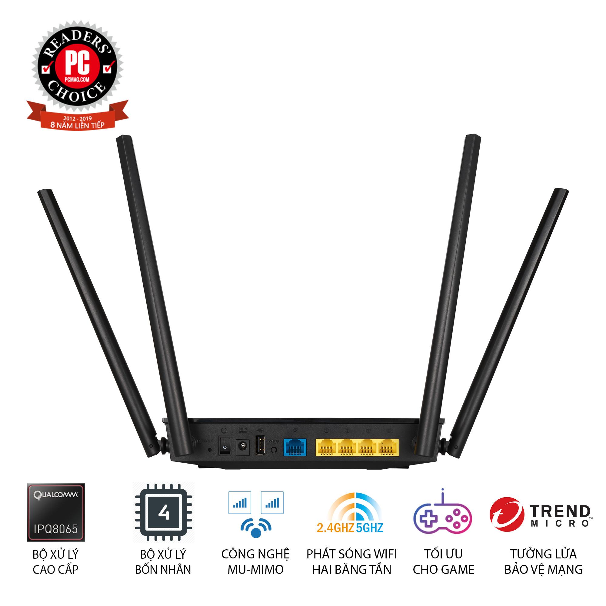 Router Wifi Asus RT-AC1500UHP Băng Tần Kép MU-MIMO - Hàng Chính Hãng