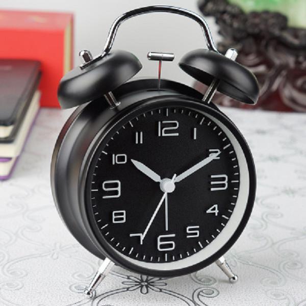 Đồng hồ báo thức 2 quả chuông kèm đèn kiểu cổ điển để bàn tiện lợi