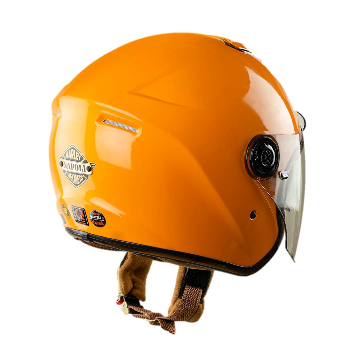 Mũ bảo hiểm ¾ đầu Napoli N125 Màu Cam Hai Kính đi được cả ngày và đêm - Free size 57 - 60cm
