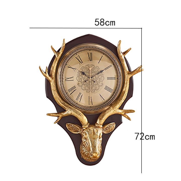 Đồng hồ treo tường hình đầu hươu 58x72cm