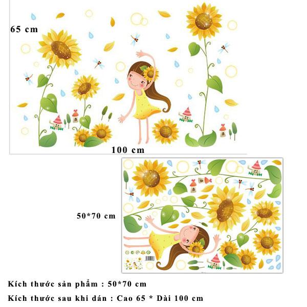 Decal dán tường hoa mặt trời vàng và bé ZOOYOO XL7192