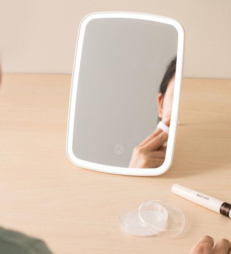 Gương trang điểm di động có đèn Led cao cấp phong cách Hàn Quốc (màu be)