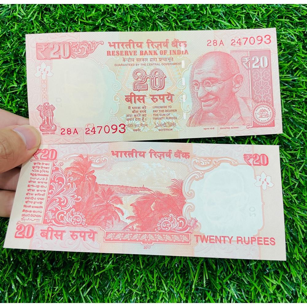 Tiền Ấn Độ India 20 Rupees hình ảnh Ghandi, chất lượng mới 100% UNC - tặng kèm bao lì xì - The Merrick Mint