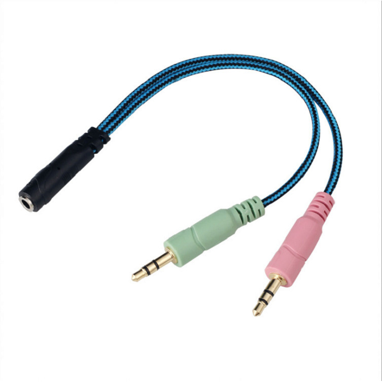 Cáp gộp tai nghe và mic ra jack 3,5mm dây dù