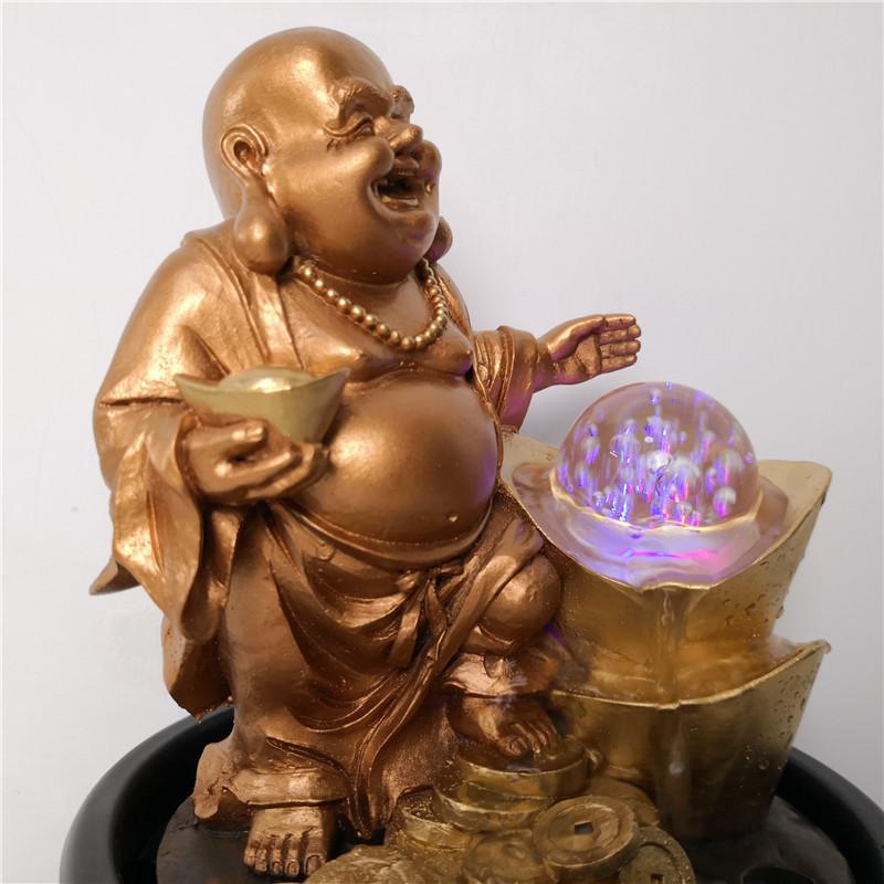 Tượng Phật Di Lạc kết hợp thác nước phong thủy tài lộc