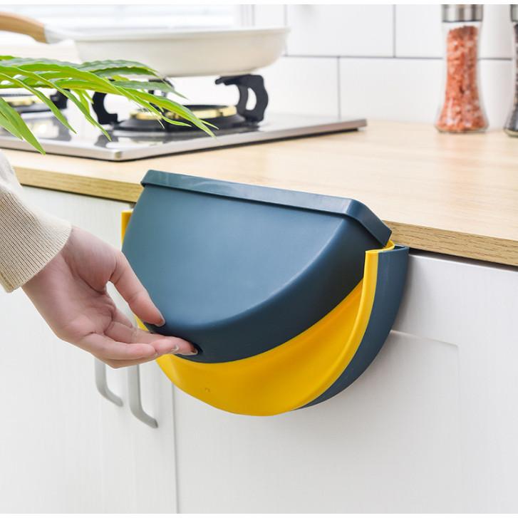 Thùng rác TRÒN gấp gọn treo kẹp tủ bếp nhựa dẻo siêu bền cho nhà bếp và xe hơi (màu ngẫu nhiên) GD352-ThungracGG-Tron