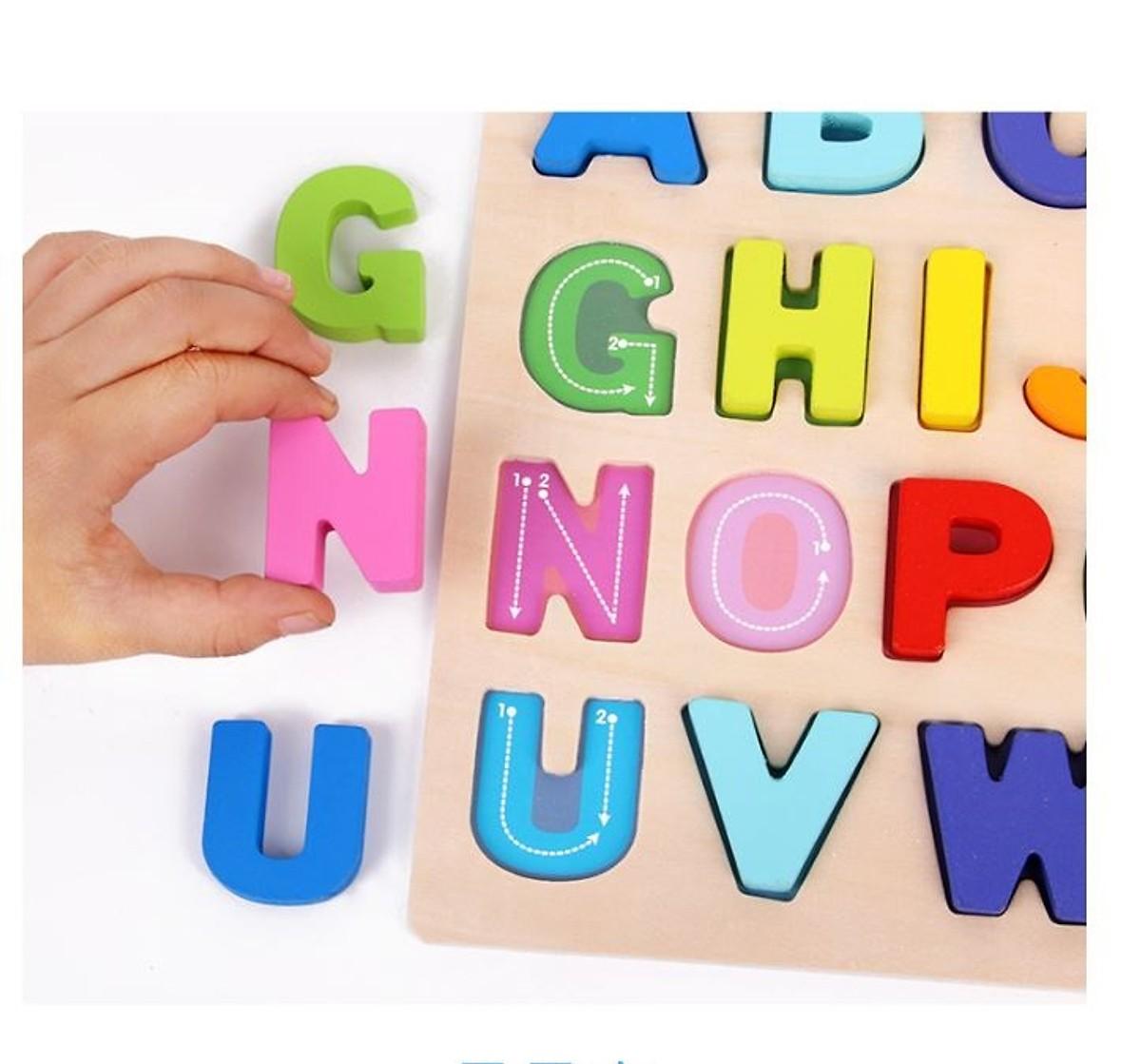 Bảng gỗ chữ  nổi - đồ chơi trí tuệ MK
