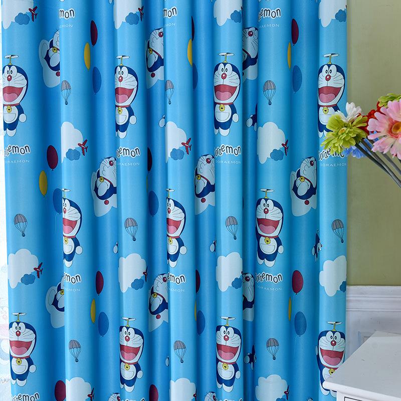 Rèm vải treo cửa chắn sáng họa tiết đô rê mon (2m ngang x 2.7m cao)