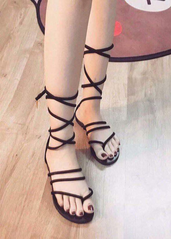 Sandal cột dây bít gót - D80