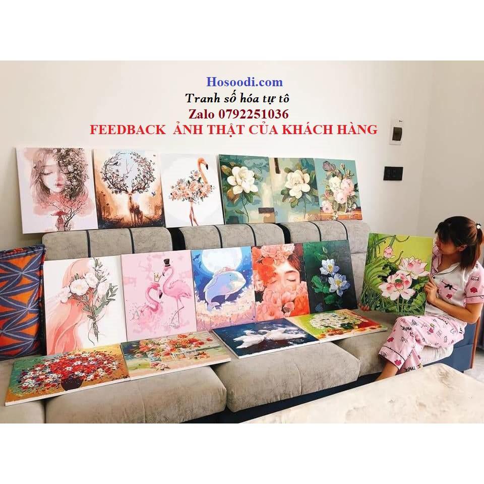 Tranh sơn dầu số hóa rẻ,đẹp-tranh tô màu theo số- tranh hoa đẹp ,Tặng khăn,khung gỗ dày 2.5cm,Moonshop-T1