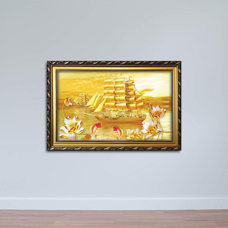 Tranh Phong Thủy: Tranh Thuyền Cá Chép Hoa Sen W804