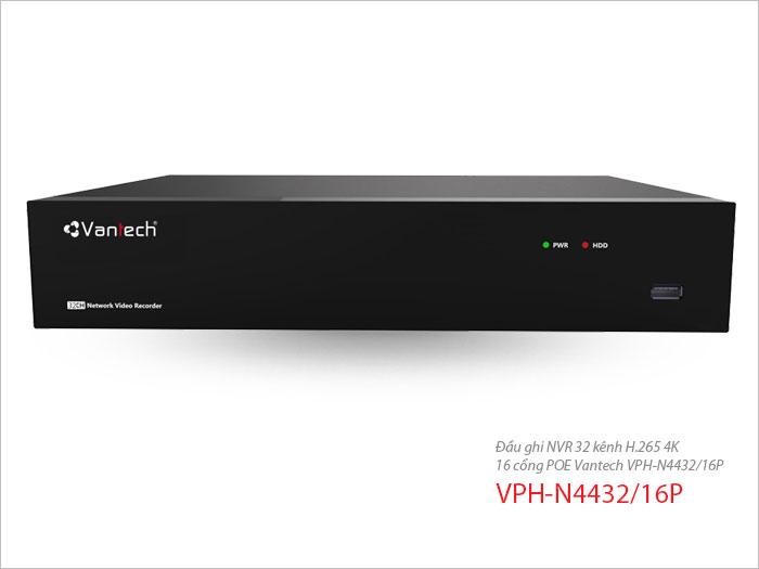 Đầu ghi NVR 32 kênh H.265 4K 16 cổng POE VPH-N4432/16P-Hàng chính hãng