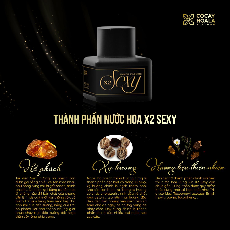 Nước hoa vùng kín X2 Sexy Cocayhoala 5ml khử mùi hôi, làm thơm ,hồng và se khít vùng kín- hương hổ phách, xạ hương Hương thơm dịu nhẹ, quyến rũ, thành phần thiên nhiên, an toàn, lành tính