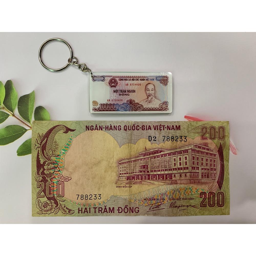 Tờ tiền xưa 200 đồng hình con nai - tặng kèm móc khóa hình tiền xưa