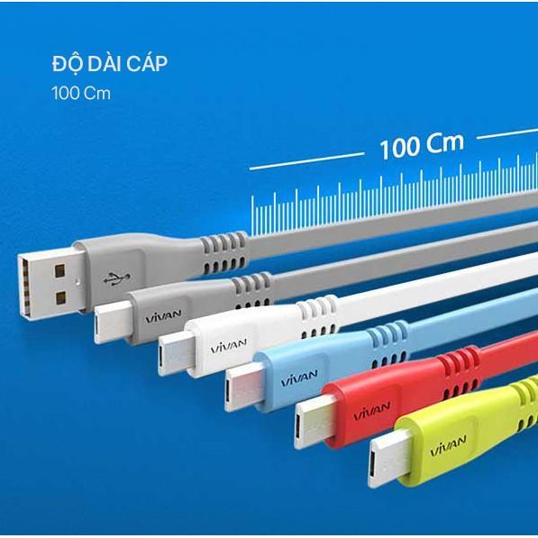 Cáp Sạc Micro VIVAN CSM100S Nhựa Dẹt 1m - Hàng Chính Hãng
